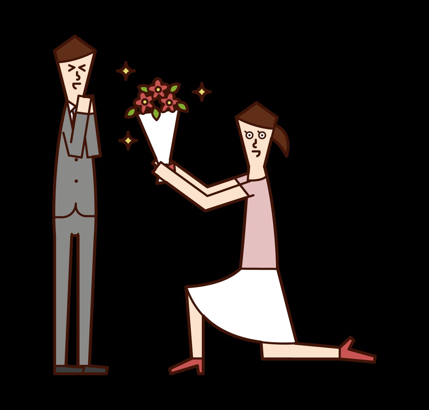 花束を渡してプロポーズする人(女性)のイラスト