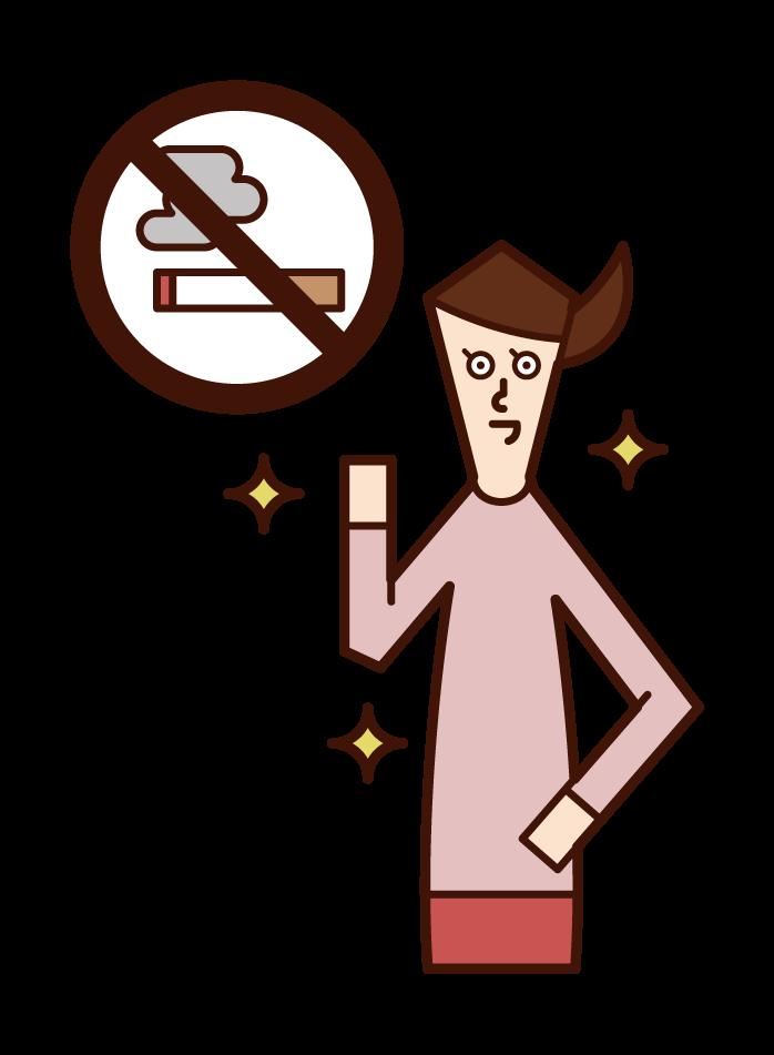 成功戒菸的人(女性)的插圖