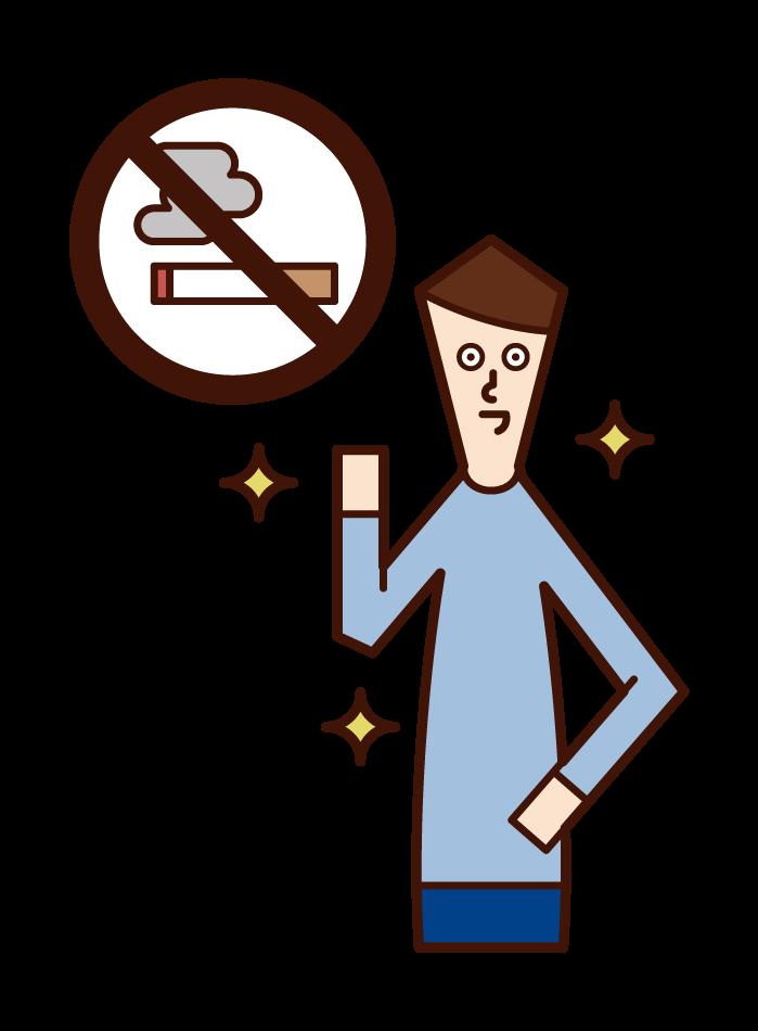 成功戒菸的人(男性)的插圖