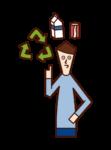 リサイクルをする人(男性)のイラスト