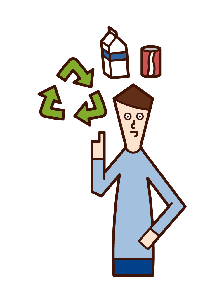 Illustration of a recycling person (man)