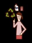 リサイクルをする人(女性)のイラスト