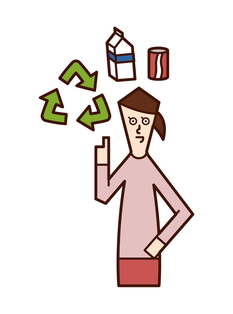 Illustration of a recycling person (woman)