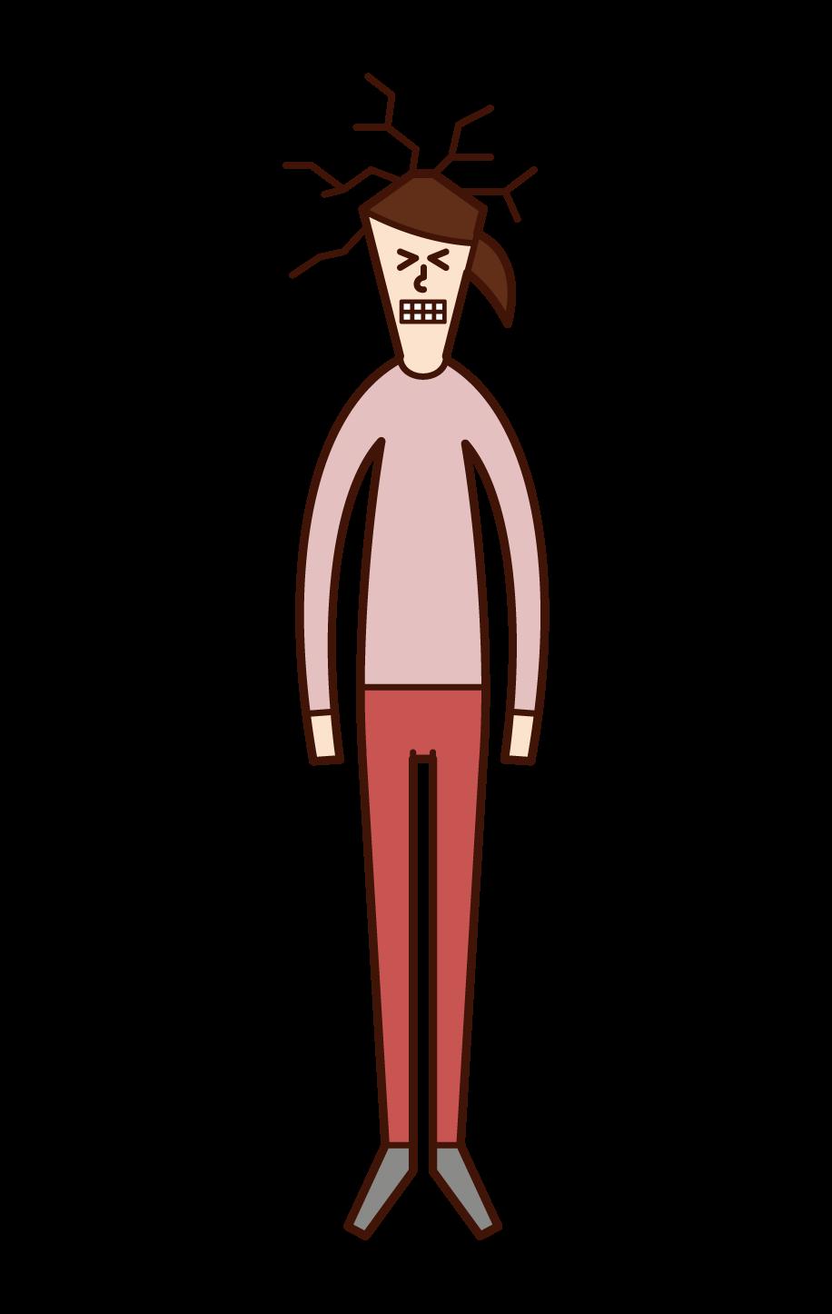 天井に頭をぶつける人(女性)のイラスト