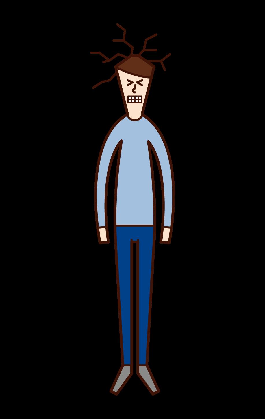 天井に頭をぶつける人(男性)のイラスト
