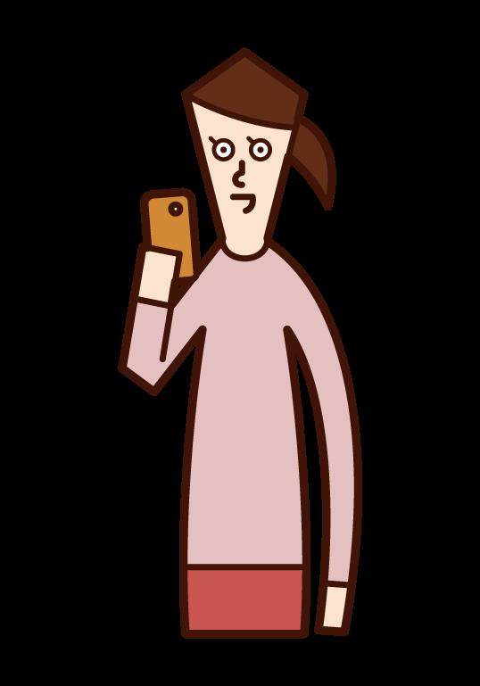스마트폰을 사용하는 사람(여성)의 일러스트