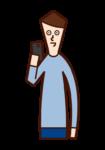使用智能手機的人(男性)的插圖