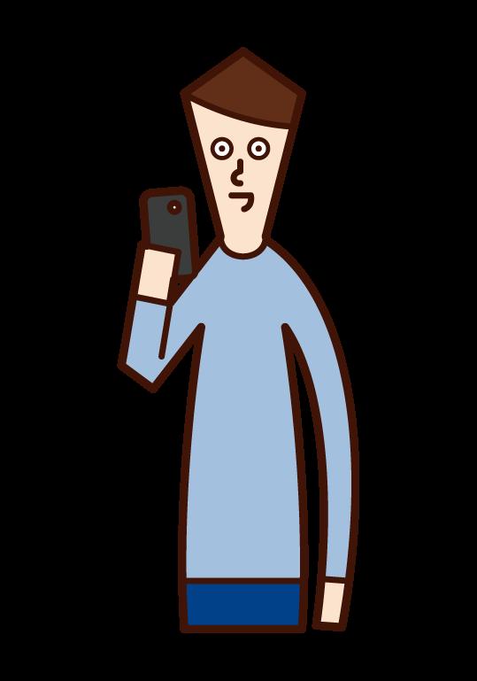 스마트폰을 사용하는 사람(남성)의 일러스트