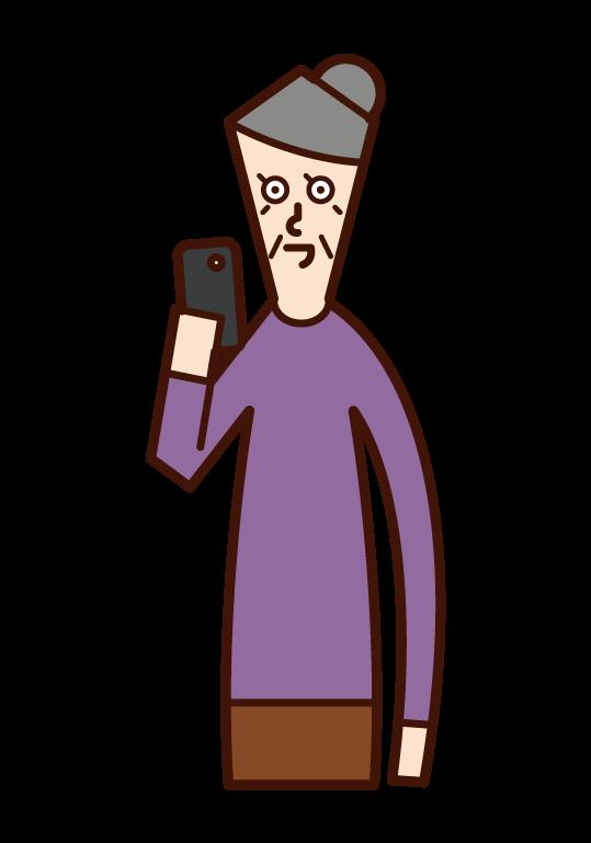 スマートフォンを使う人(おばあさん)のイラスト