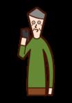 使用智能手機的人(爺爺)的插圖