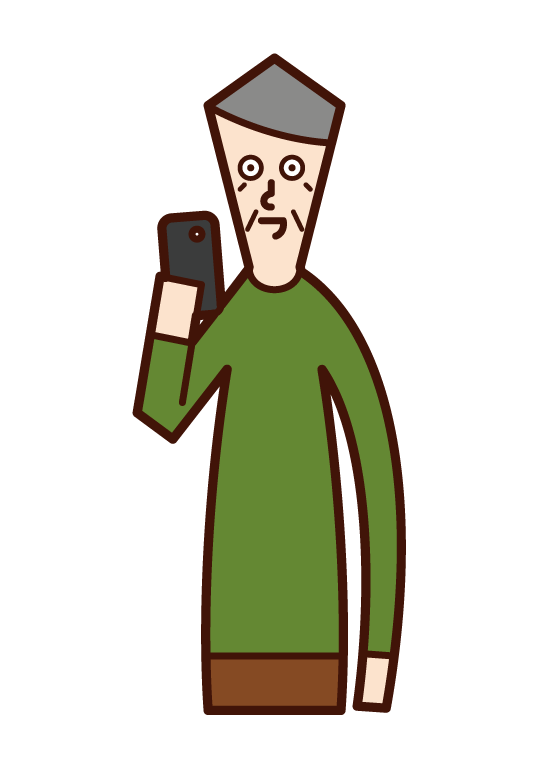 スマートフォンを使う人(おじいさん)のイラスト