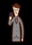スマートフォンを使う人(男性)のイラスト