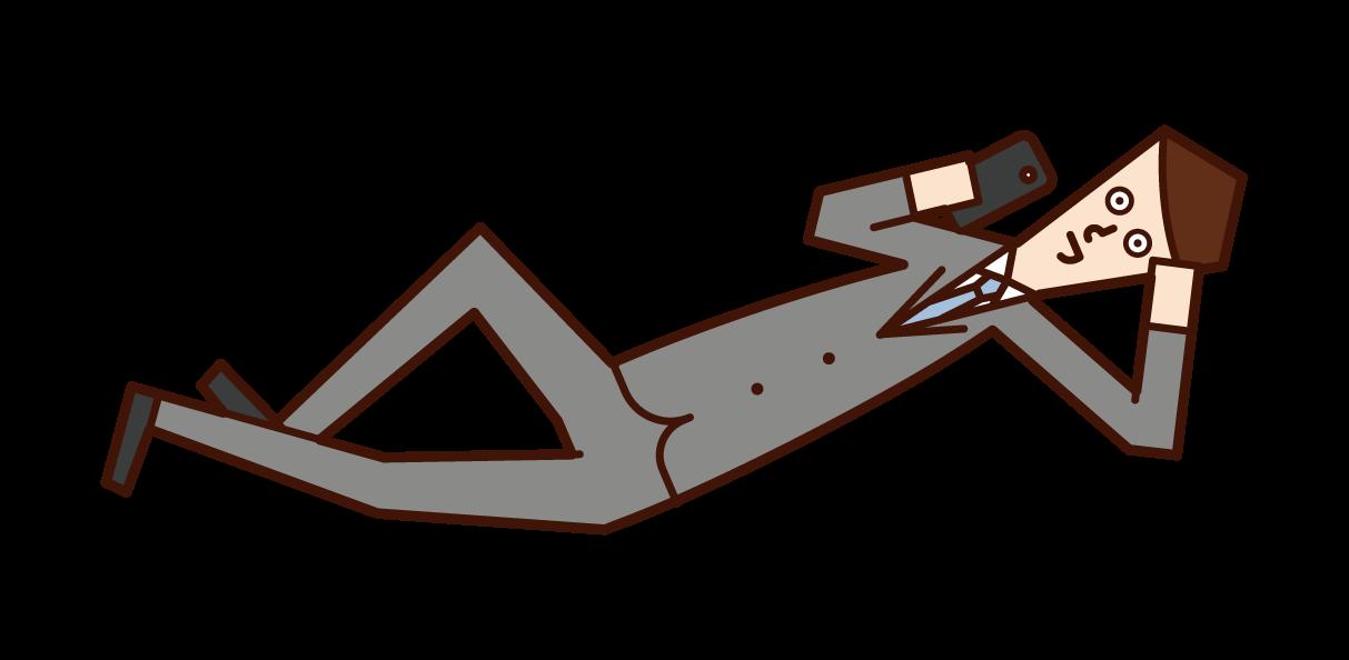 躺下使用智能手機的人(男性)的插圖
