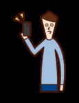 獲得新智能手機的人(男性)的插圖