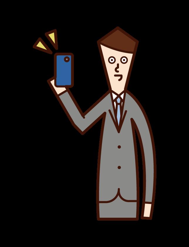새로운 스마트 폰을 얻는 사람 (남성)의 그림