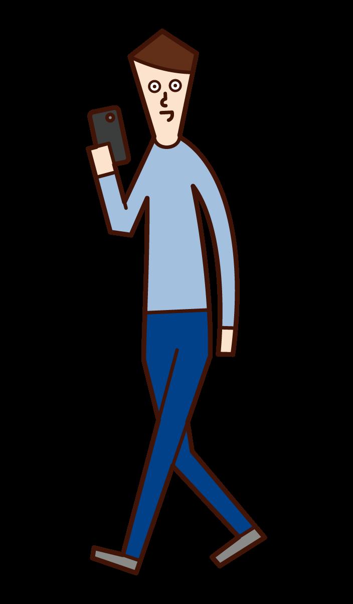 歩きながらスマートフォンを使う人(男性)のイラスト