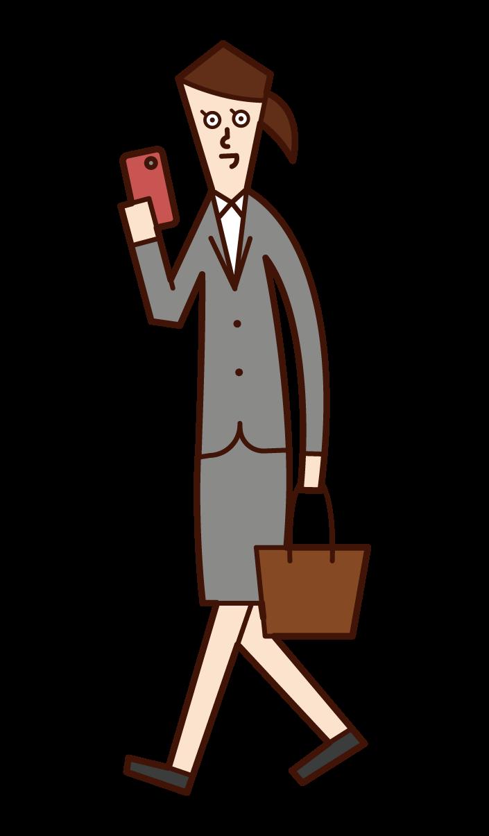 歩きながらスマートフォンを使う人(女性)のイラスト
