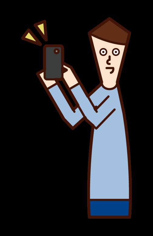 스마트폰을 홍보하는 사람(남성)의 일러스트