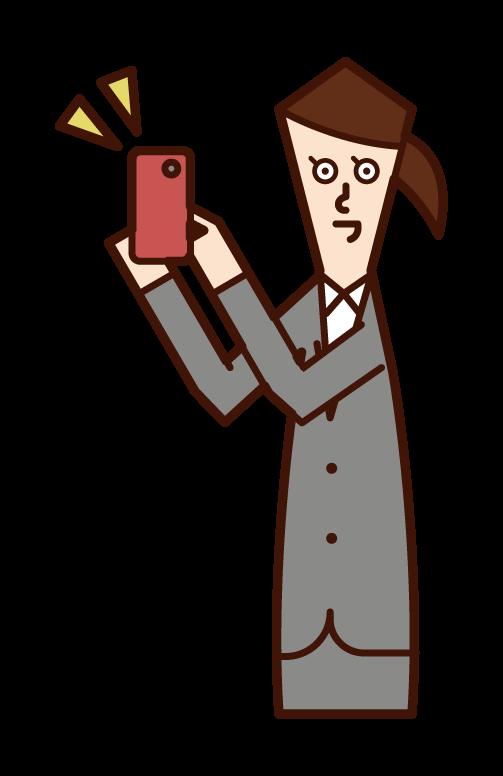 宣傳智能手機的人(女性)的插圖