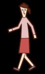 行走的插圖(女性)