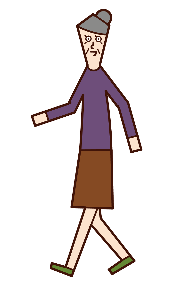 Illustration of a walking person (grandmother)