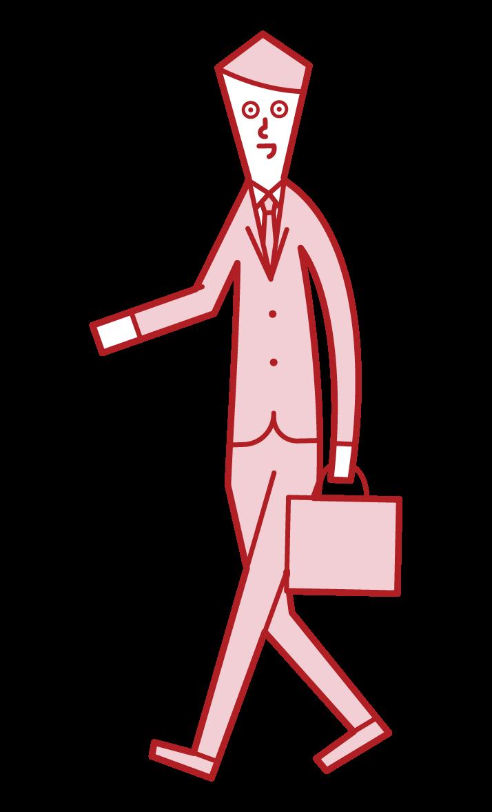 行走者(男性)的插圖