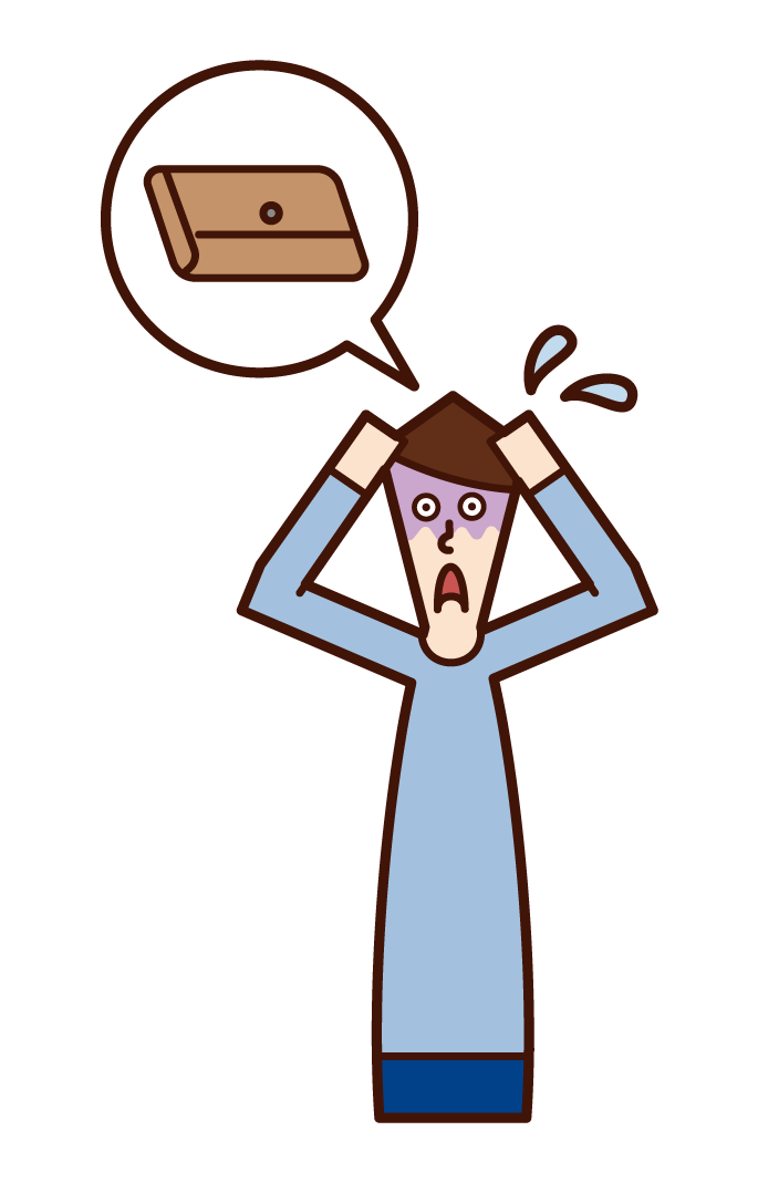 Illustration of a person (man) who is impatient with his wallet lost
