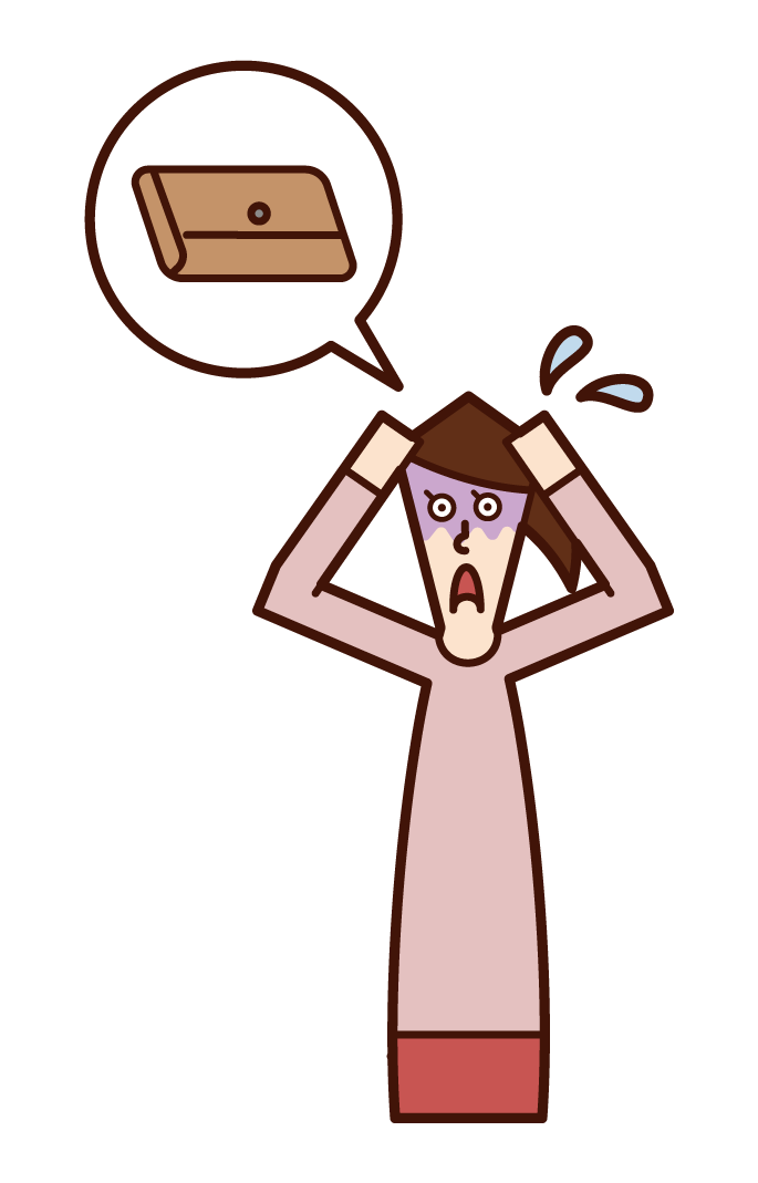 Illustration of a person (woman) who is impatient with her wallet lost