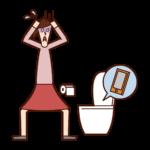 トイレの便器にスマートフォンを落とした人(女性)のイラスト