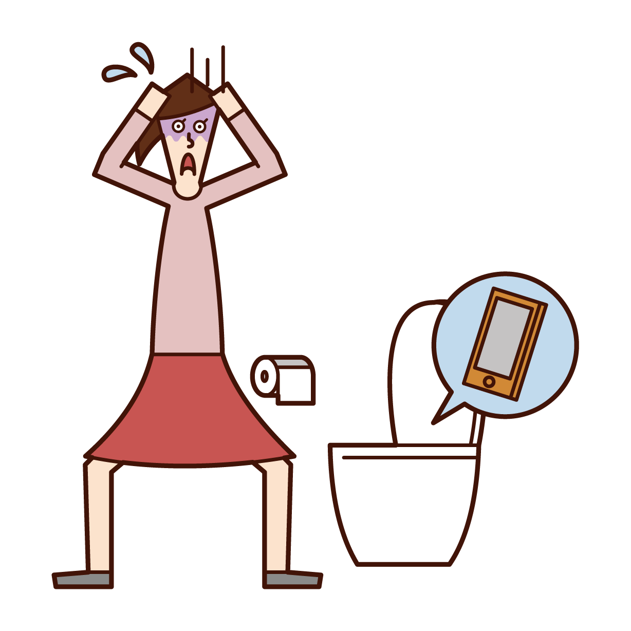 Illustration of a woman dropping her smartphone on a toilet bowl