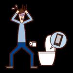 トイレの便器にスマートフォンを落とした人( 男性)のイラスト