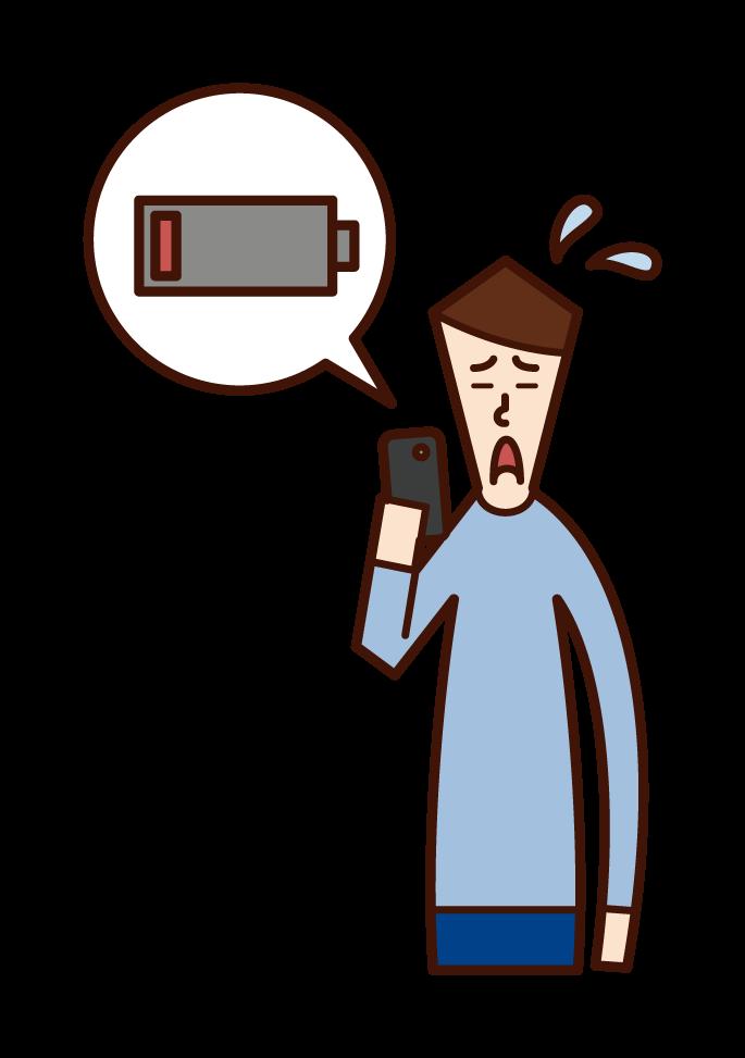 スマートフォンのバッテリー残量が少なくて焦る人(男性)のイラスト