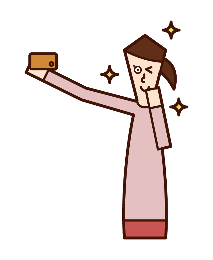 Illustration of a woman taking a selfie with a smartphone