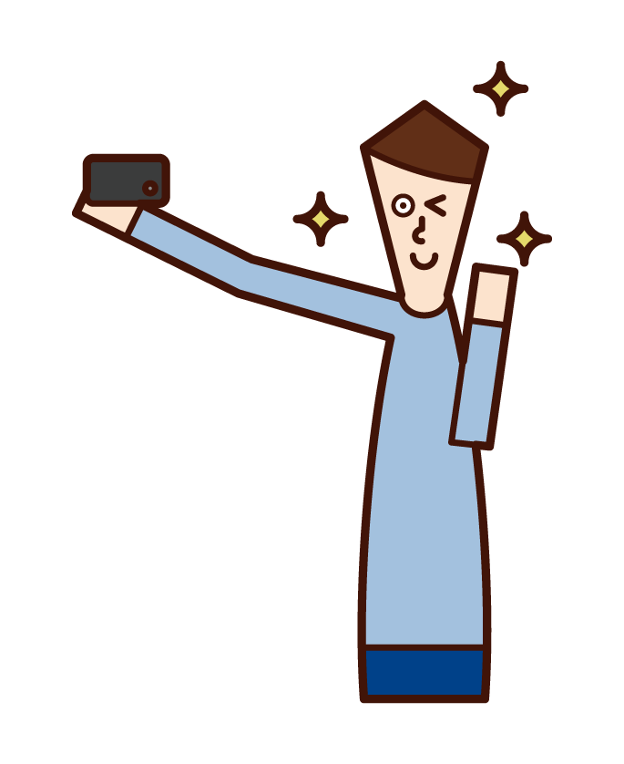 Illustration of a person (man) taking a selfie with a smartphone