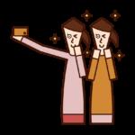 使用智慧手機自拍的人(女性)的插圖