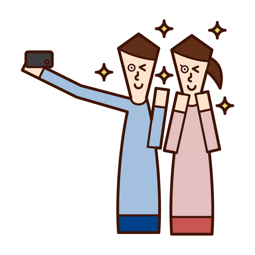 Illustrations of people taking selfies with smartphones