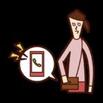 Illustration of smartphone (woman) ringing ringtone