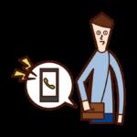 Illustration of smartphone (man) ringing ringtone