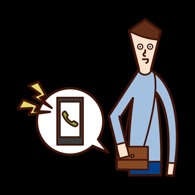 着信音が鳴るスマートフォン(男性)のイラスト