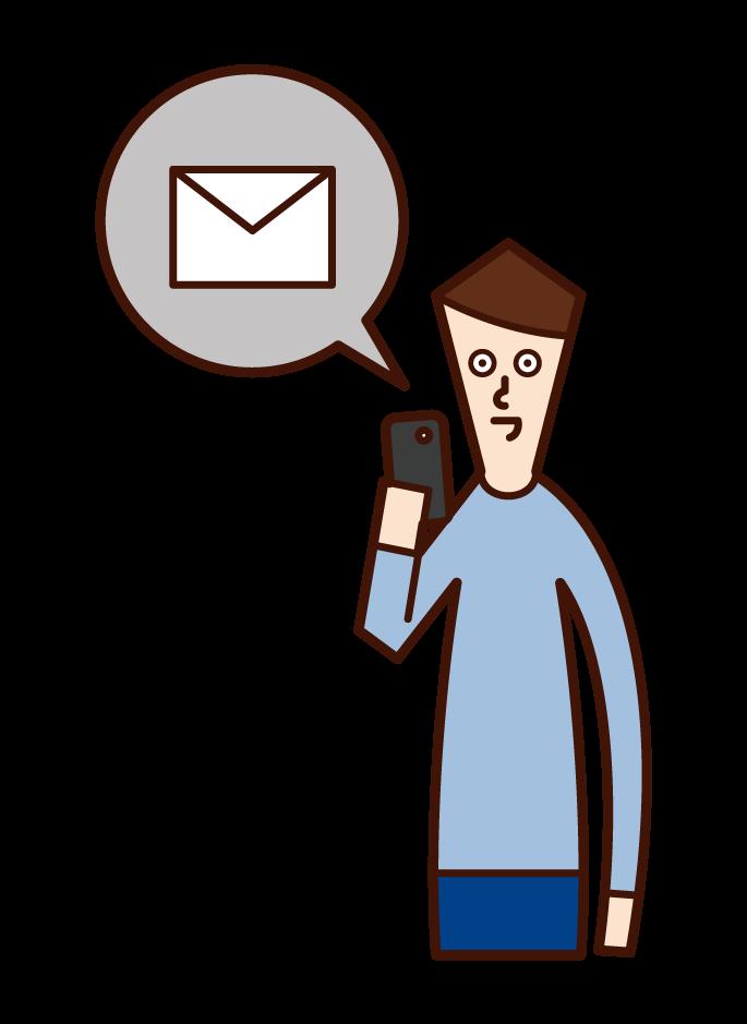 發送智慧手機電子郵件的人(男性)的插圖