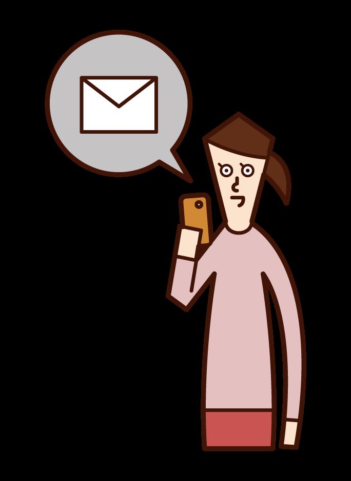 發送智慧手機電子郵件的人(女性)的插圖