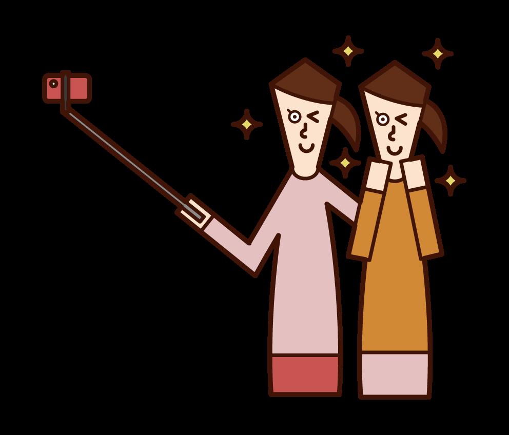 自撮り棒を使って自撮りする人(女性)のイラスト