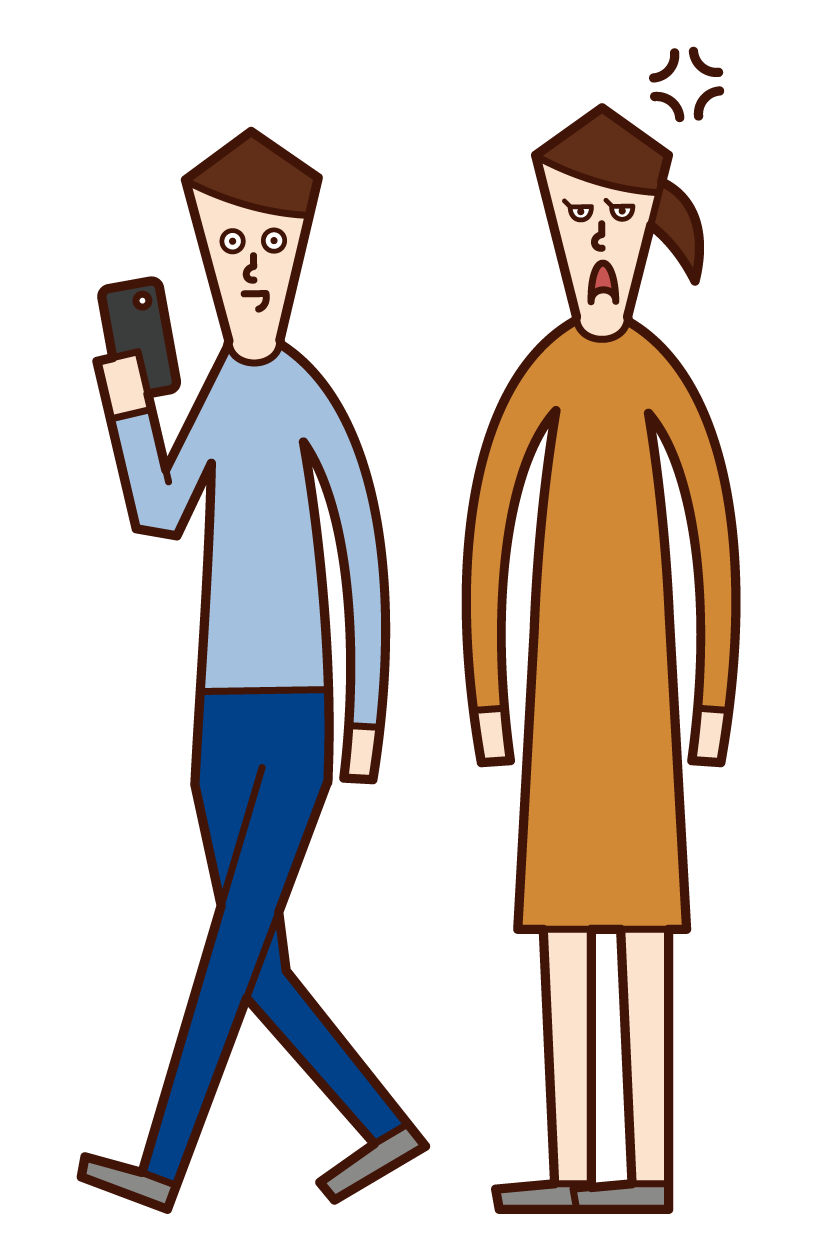 Illustration of a person (man) who only uses a smartphone while dating