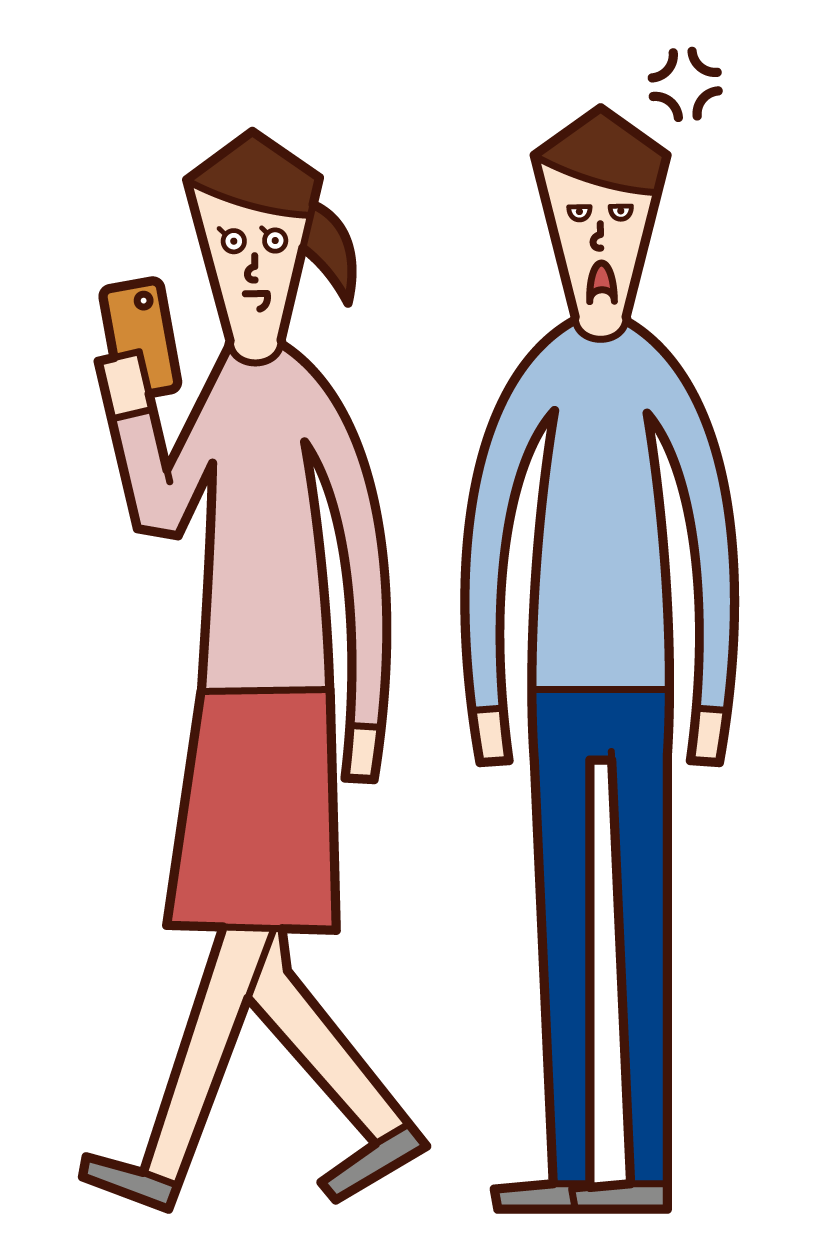 Illustration of a woman who uses only a smartphone while dating