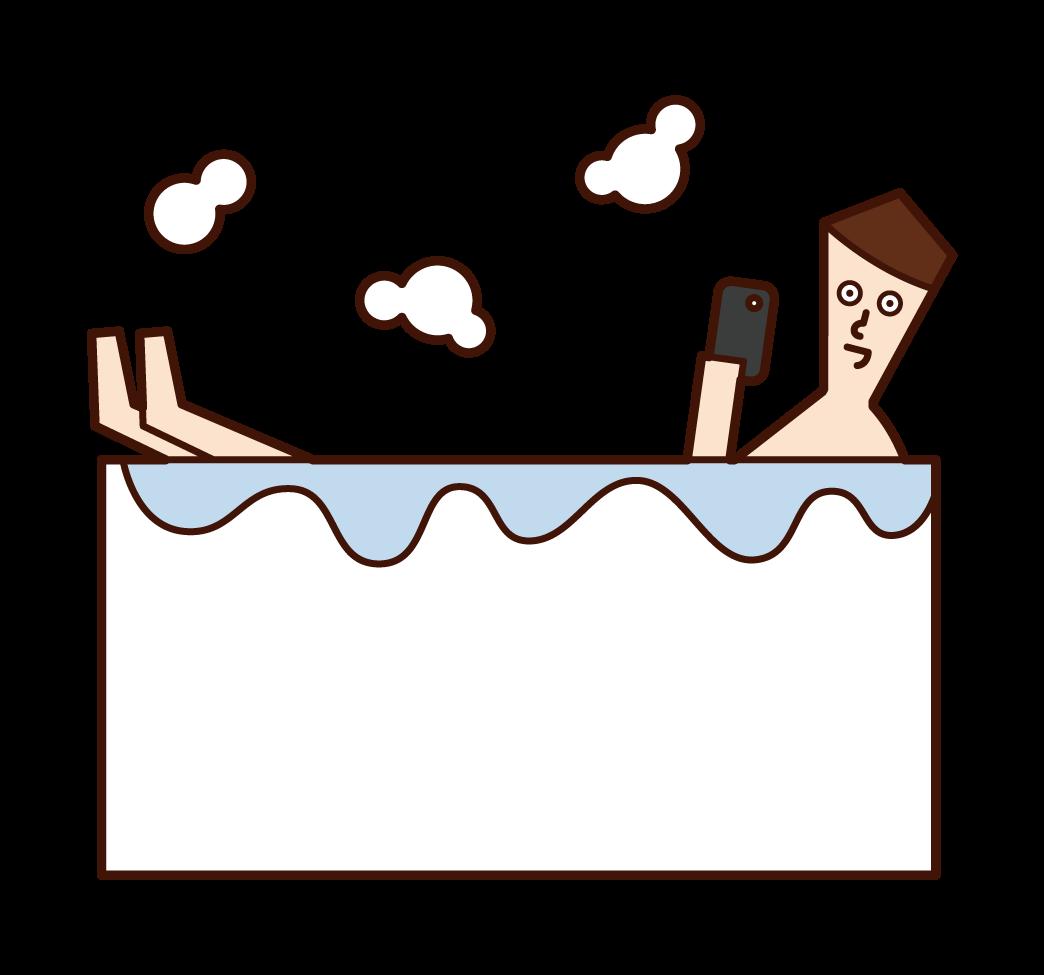 목욕 중에 스마트폰을 사용하는 사람(남성)의 일러스트