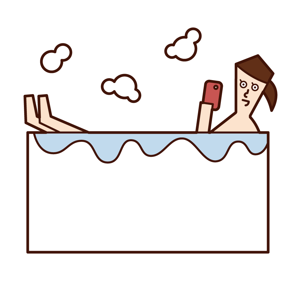 목욕 중에 스마트폰을 사용하는 사람(여성)의 일러스트