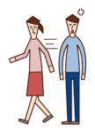Illustration of a woman walking fast while dating