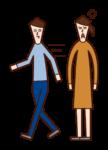 데이트 할 때 빠르게 걷는 사람 (남성)의 그림
