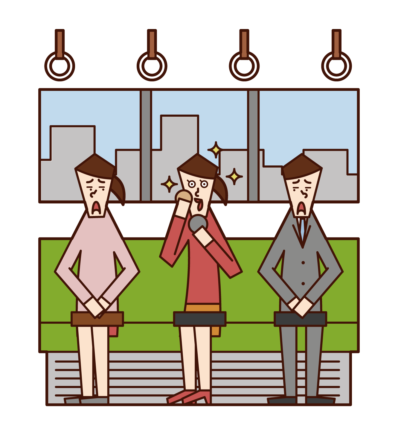 在火車上化妝的人(女性)的插圖