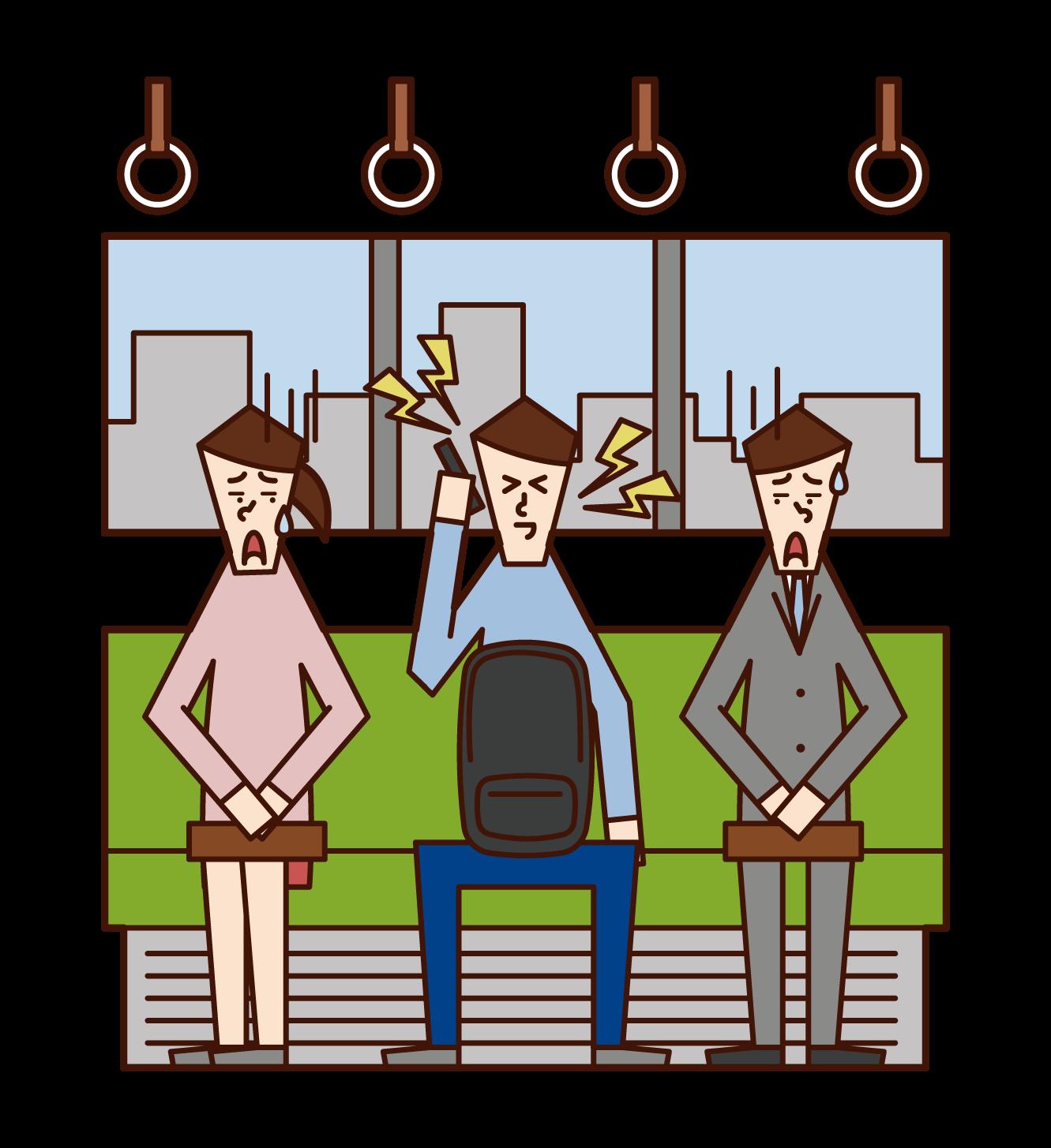 在火車上大聲打電話的人(男性)的插圖